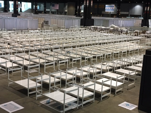 Hundreds of Accurate Rapid Deployment Medical Beds Staged at McCormick Place for patient rooms 4-11-2020